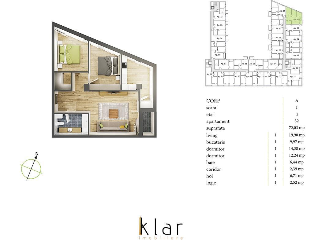 Vanzare apartament 3 camere in bloc nou finalizat, zona Plopilor