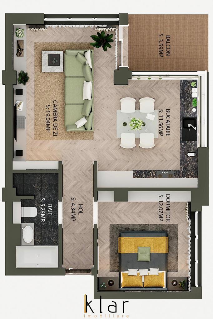 Apartament doua camere cu CF Bloc nou Calea Baciului