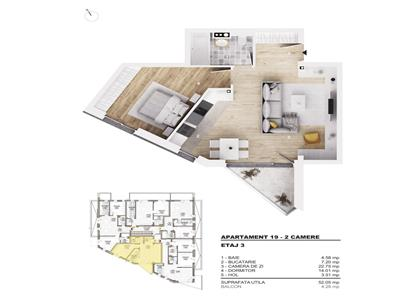 De vanzare apartament 2 camere,  Gheorgheni