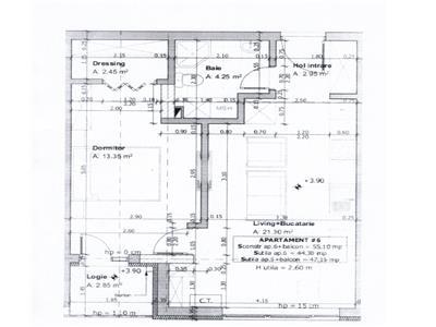 Apartament 2 camere, semifinisat, zona Florilor