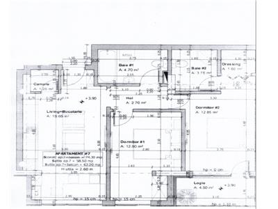 Apartament 3 camere semifinisat, 2 bai, bloc nou, zona Florilor