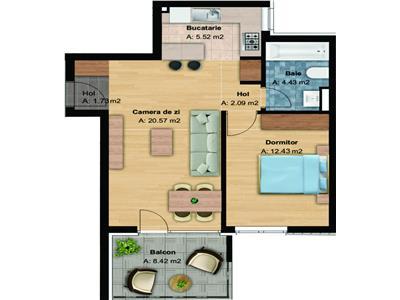 Apartament cu 2 camere (46,70mp), bloc nou in Buna Ziua, garaj inclus