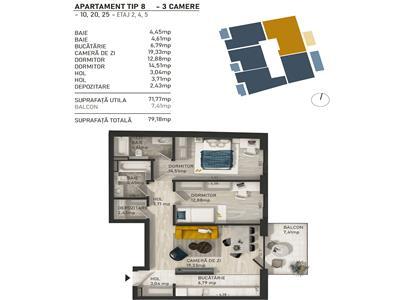 Apartament 3 camere, bloc nou in Centru!