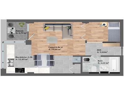 Vanzare apartament cu 1 camera zona Petrom, Baciu!