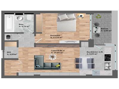 Vanzare apartament 2 camere zona Petrom, Calea Baciului!